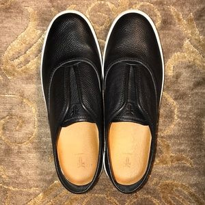 Leather black Frye slip-ons, size 8.5